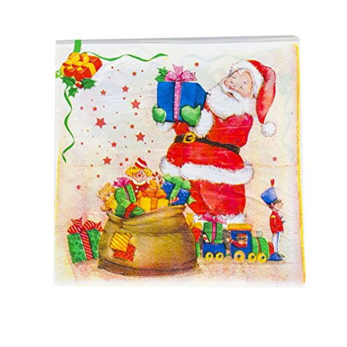 (Colorful Christmas Party/Dinner Disposable Napkins,Flower/Snowman/Sleigh/Santa Claus/Jingle Bell/Christmas Tree Pattern,20Counts/Bag)