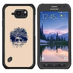 EJOOY---Cubierta de la caja de protección para la piel dura ** Samsung Galaxy S6Active Active G890A ** --Afro Cráneo floral - Pop Art