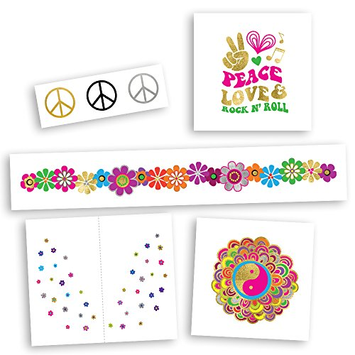 HIPPIE CHICK VARIETY SET includes 25 assorted premium waterproof metallic gold & silver jewelry groovy temporary foil party tattoos - party supplies, hippie, festival, face sparkle (Tattoo Inspired Rock Roll N)