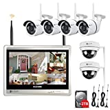 Cheap Wireless Surveillance System, Forcovr 8 Channel Home Security Camera System 12.5inch 1080P LCD Monitor with 4PCS Outdoor Bullet Cameras 2PCS Indoor Dome Cameras with 2TB Hard Drive