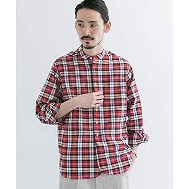 Scye Basics Plaid Grandad Collar Shirt 5120-31507: Salmon