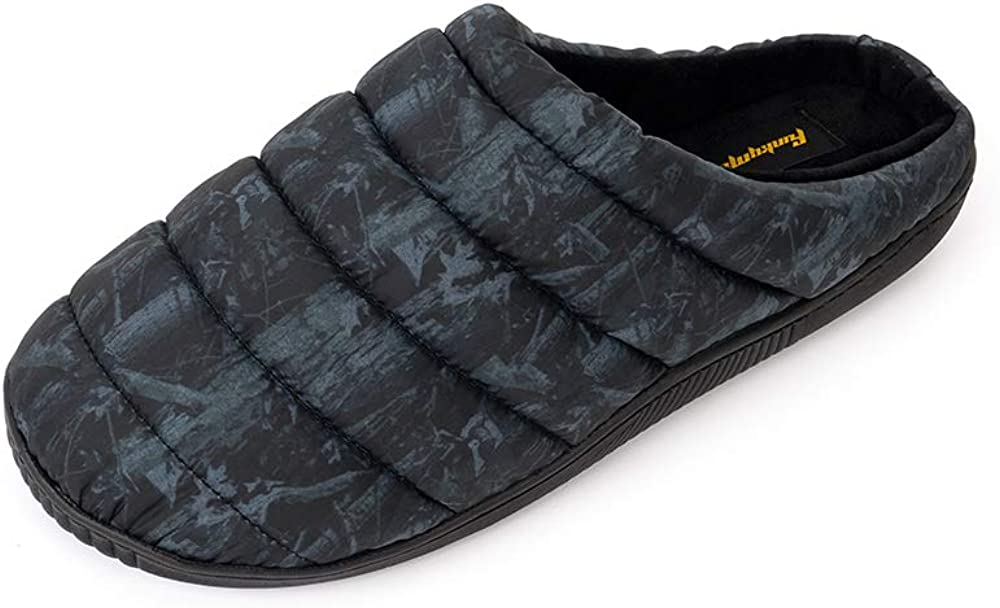 FUNKYMONKEY Men's House Slippers Nylon Taffeta Soft and Warm Shoes for Outdoor and Indoor