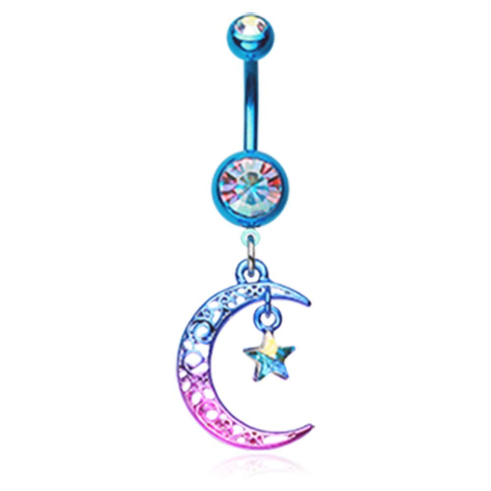 Simple Multi-Gem Heart 316L Surgical Steel Freedom Fashion Belly Button Ring Sold Individually
