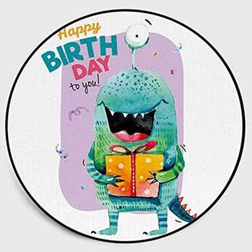 KEMANDUO Alles Gute zum Geburtstag niedlichen Cartoon-Monster Runde Teppichmatten Kinder Klettern Gondel Stuhl lila Monster Matten,1.4