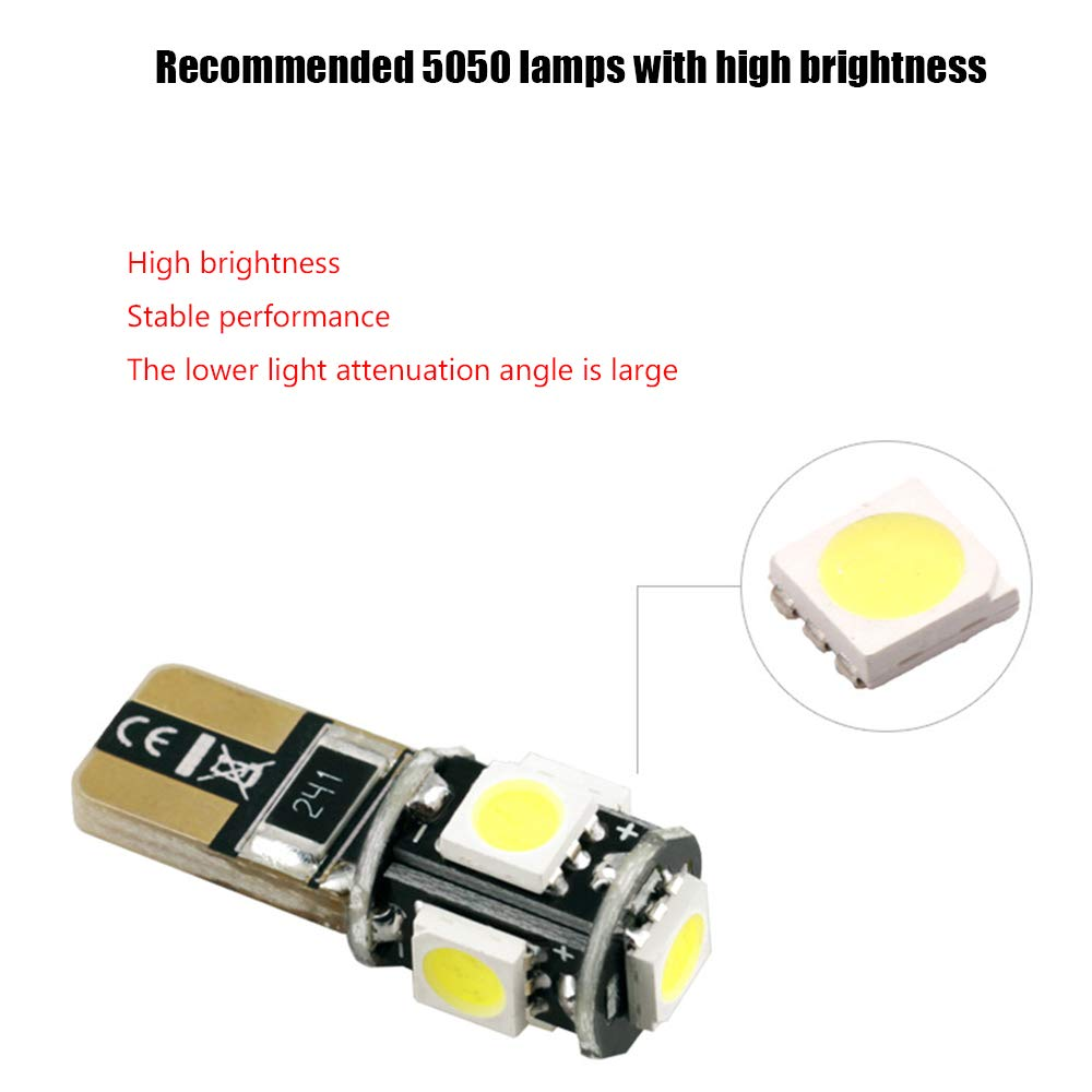 AMAZENAR 10-Pack White 194 T10 168 2825 W5W 175 158 Bulb 5050 5 SMD Canbus Error Free LED Light 12V Car Interior Lighting for Map Dome Lamp License Plate Side Marker Dashboard Lights