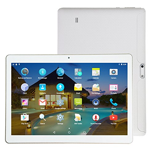 YELLYOUTH 3G Unlocked Tablet Android 10 inch with Dual SIM Card Slot 64GB ROM 4GB RAM Octa Core WIFI Bluetooth GPS Phone Call Tablets 10.1 - White
