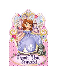 Disney Sofia The First Princess Birthday Party Postcard Thank You Cards Supplies (8 Pack), Pink/Purple, 4 1/4