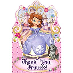 Disney Sofia The First Princess Birthday Party Postcard Thank You Cards Supplies (8 Pack), Pink/Purple, 4 1/4\