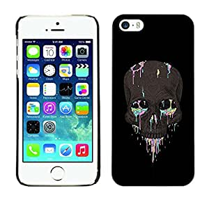 Eason Shop / Hard Slim Snap-On Case Cover Shell - Colorful Skull Black Grey Paint Death - For Apple Iphone 5 / 5S