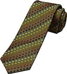 Zarrano Skinny Tie 100% Silk Woven Brown/Orange Square Tie