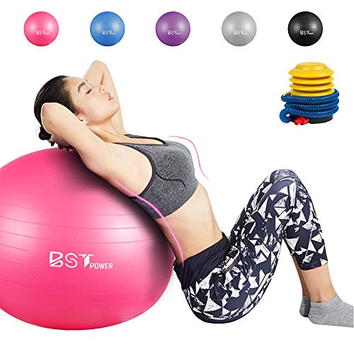 BST POWER Exercise Ball, 45-85cm Extra Thick Yoga Ball Chair, Anti-Burst Heavy Duty Gym Ball Stability Ball Birthing Ball with Quick Pump (Best Exercise Whilst Pregnant)