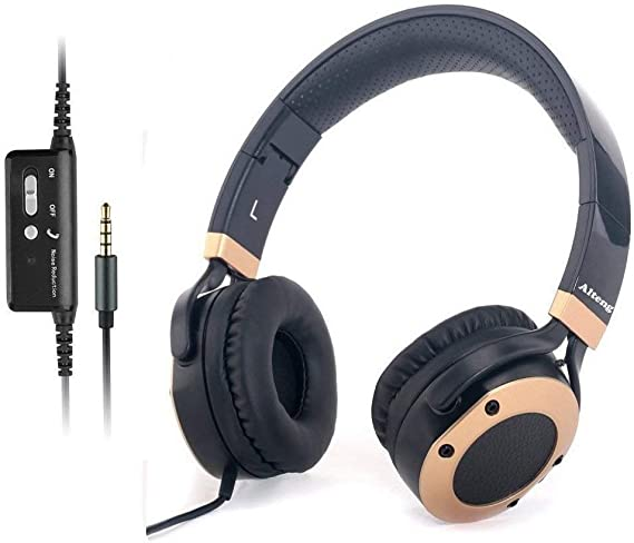 Active Noise Cancelling Headphones with Microphone and Airplane Adapter
