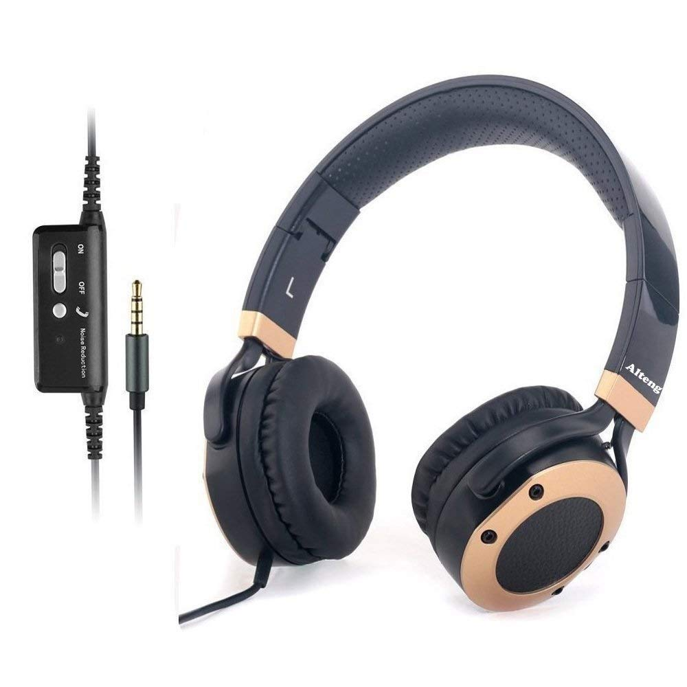 Active Noise Cancelling Headphones with Microphone and Airplane Adapter, Folding and Lightweight Travel Headsets, Hi-Fi Deep Bass Wired Headphones with Carrying Case by MONODEAL