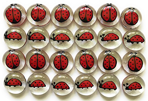 Jazzy Glass Gems, Hand Painted Set of 24, Party Favor, Decoration, Mosaic Tile, Crafts etc, Ladybugs from Jazzy Glass Gems