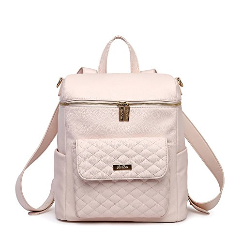 Luli Bebé Diaper Bag Backpack, Vegan Leather,with Changing Mat and Stroller Straps, Luxury and Stylish, Large Capacity (Pastel Pink) (Best Luxury Diaper Bag)