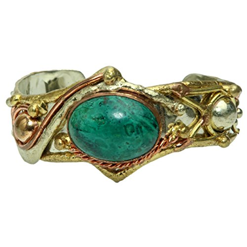 "SatinCrystals Chrysocolla Bracelet 5.5-6.5"" Boutique Blue Green Genuine Oval Gemstone Goddess Cuff Copper Brass Silver B01"