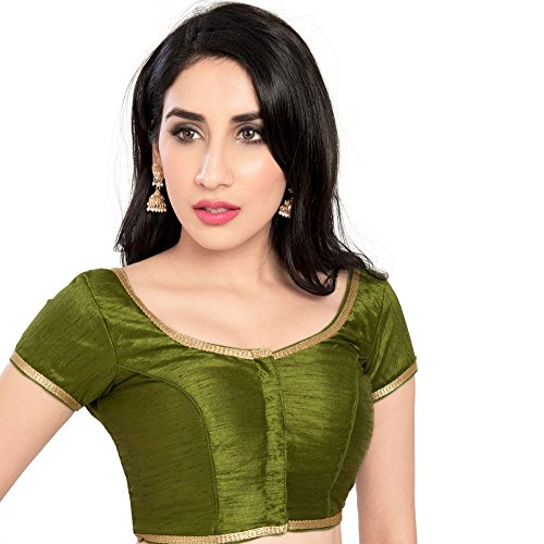 Bollywood Blouses Women's Designer Laced Edge Saree Blouse Large Mehandi Green
