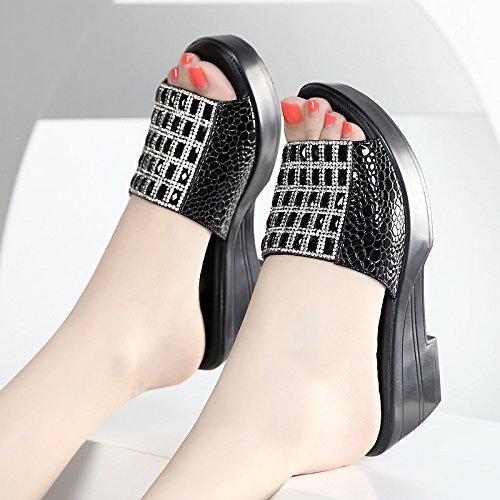ZPPZZP Mme sandales chaussons gras et respirant avec de la gaze 35EU noir