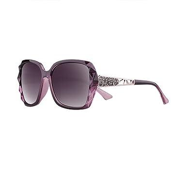 HONEY Gafas De Sol Polarizadas Para Mujer - Incrustaciones De Diamantes Gran Marco De Espejo Protección UV - Deje Contornos De La Cara Más Bella (Color ...