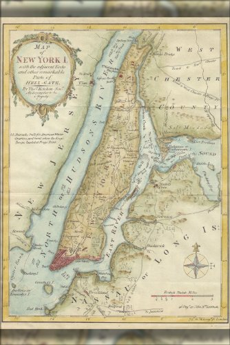 24x36 Poster 1869 Kitchen - Shannon Map of New York City c.1778 (reproduction)