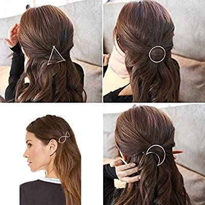 Adecco LLC 7pcs Minimalist Dainty Gold Silver Hollow Geometric Metal Hairpin Hair Clip Clamps,Circle, Triangle and Moon etc