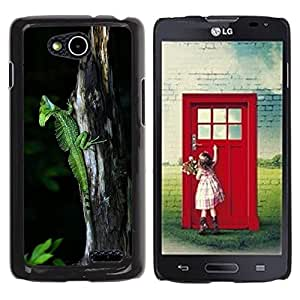 LECELL -- Funda protectora / Cubierta / Piel For LG OPTIMUS L90 / D415 -- Cool Cute Nature Trunk Green Lizard Chameleon --