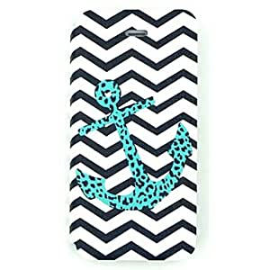 JAJAY The Speckled Anchor And Waved Stripe Pattern PU Leather Full Body Case for iPhone 5/5S