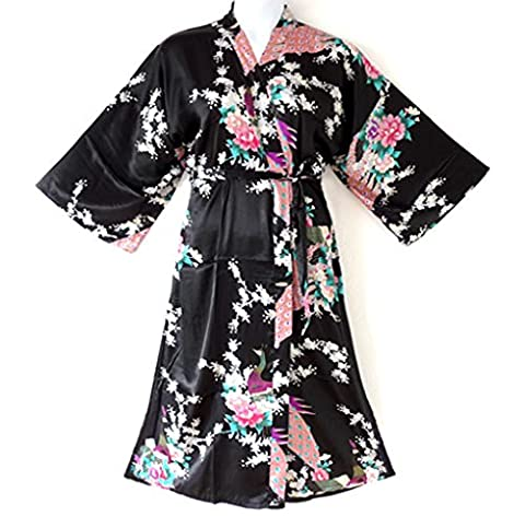 838 - Plus Size Peacock Japanese Women Kimono Sleep Robe, US Size 1X 2X 3X (Black)