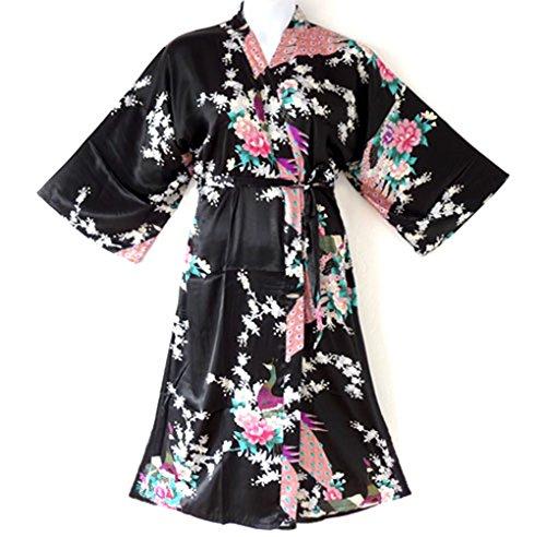 838 - Plus Size Peacock Japanese Women Kimono Sleep Robe, US Size 1X 2X 3X (Black) (Womens Plus Size Robes)