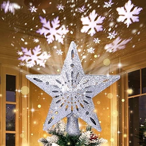 TOYANDONA 25 x 30cm Christmas Tree Topper Star Glitter Powder Treetop Light Christmas Party Decoration Silver