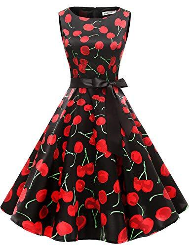 Gardenwed Women's Audrey Hepburn Rockabilly Vintage Dress 1950s Retro Cocktail Swing Party Dress Cherry Black M (Black Large Cherry)