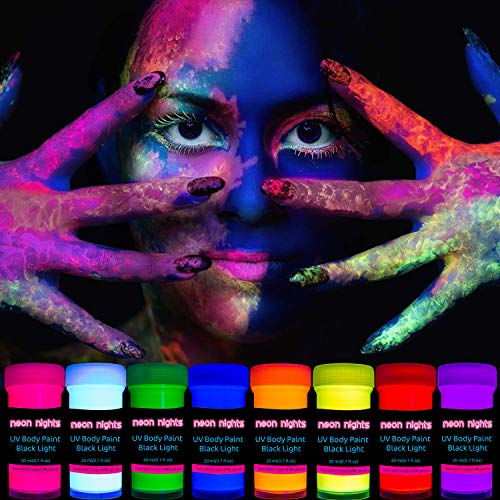 neon nights 8 x UV Body Paint Set   Black Light Glow Makeup Kit   Fluorescent Face Paints for Halloween Blacklight…