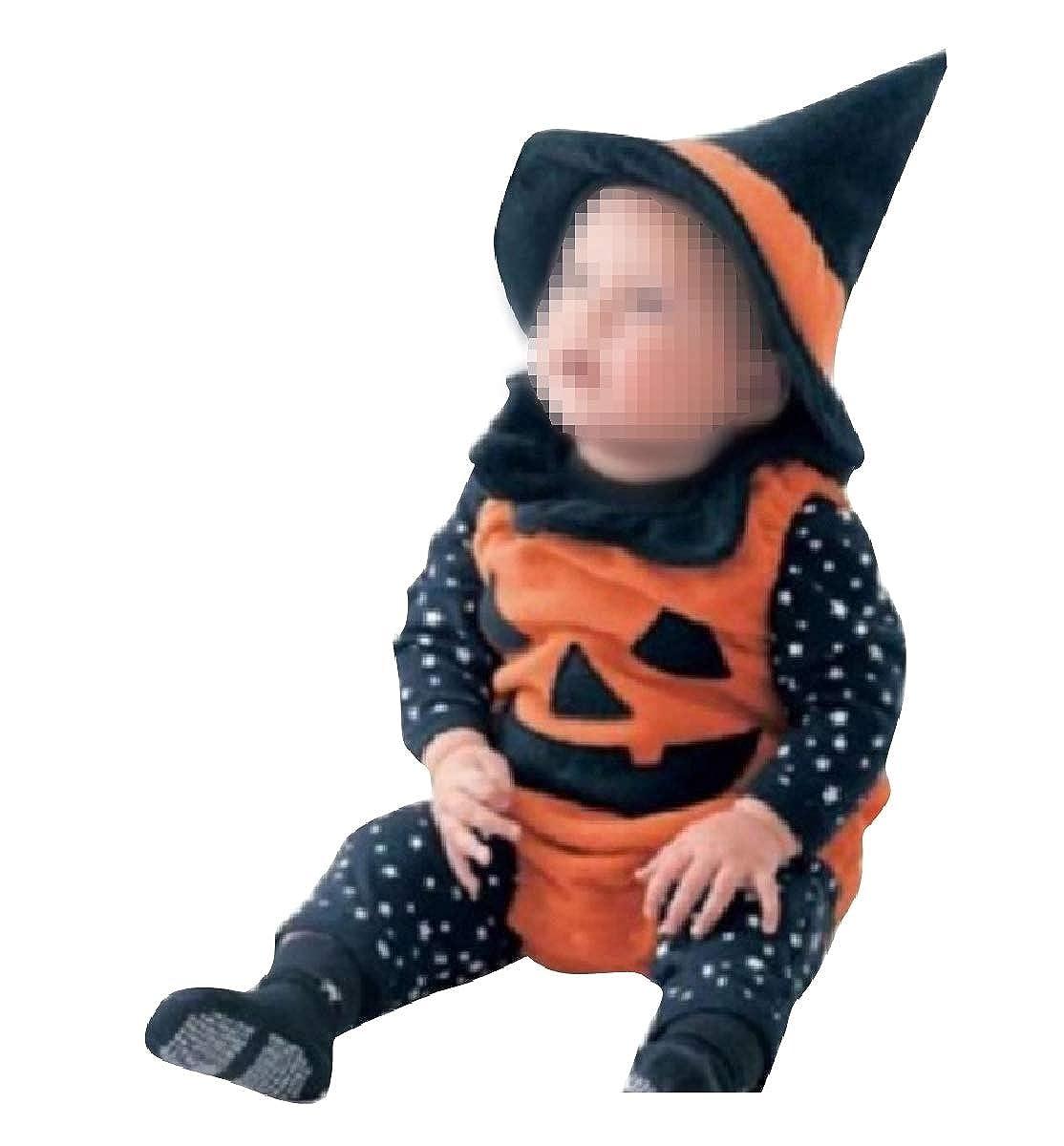 YUNY Baby Boys Girls Halloween Warm Longsleeve Cute Romper Jumpsuit Orange 90