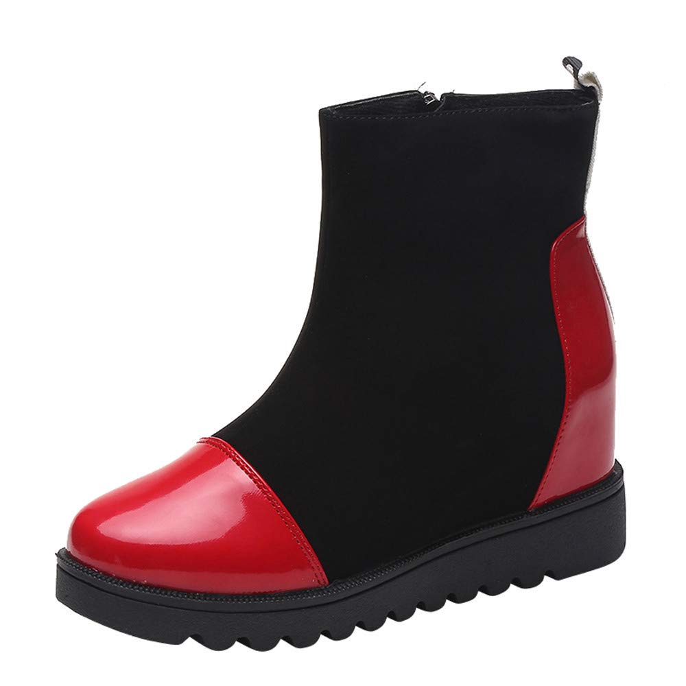 Amazon.com: COPPEN Christmas Women Boot Leather Solid Round Toe Wedges Warm Zipper Snow Shoes: Clothing
