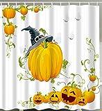 Goodbath Halloween Shower Curtain, Pumpkin Design Waterproof Mildew Ressistant Fabric Bath Curtains, 72 x 72 inch, White Yellow
