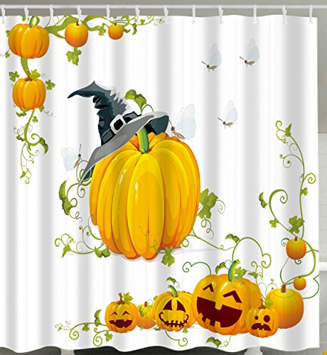 Goodbath Halloween Shower Curtain, Pumpkin Design