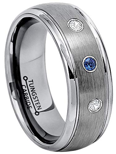 (0.21ctw Blue Sapphire & Diamond 3-Stone Anniversary Band - September Birthstone Ring - 8mm Brushed Comfort Fit Dome Tungsten Carbide Ring Tungsten Wedding Ring-10)