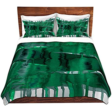 Duvet Cover Brushed Twill Twin Queen King SETs DiaNoche Designs Julia Di Sano Balancing Act Green