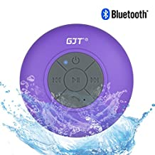 GJT®Wireless Bluetooth Waterproof Shower Speaker: 3.0 Speaker, Mini Water Resistant Wireless Shower Speaker, Handsfree Portable Speakerphone with Built-in Mic, 6hrs of playtime, Control Buttons and Dedicated Suction Cup for Showers, Bathroom, Pool, Boat, Car, Beach, & Outdoor Use(Purple)