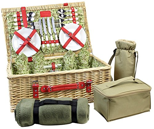 HappyPicnic Picnic Basket for 4, Nature Wicker Picnic Hamper,Willow Picnic Set with Wine Bag, Cooler Tote, Blanket and Tableware (Red (Traditional Picnic Dining Set)