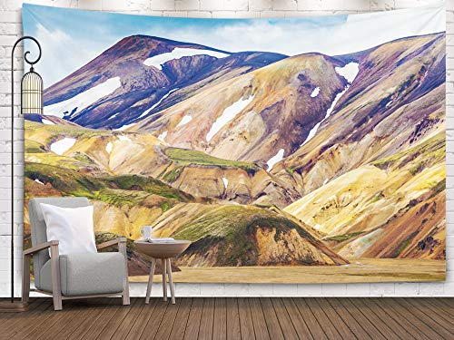 Tooperue Large Tapestry Wall Hanging, Dormitory Tapestry Room Decoration Outdoor 60X50 Inch Valley National Park on The Gentle Slopes Mountains are Snow Art Tapestry Beach Blanket Camping Tapestry