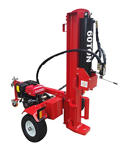 60 Ton Log Wood Splitter Hydraulic 15HP Gas Engine – 4 Way Splitting Wedge – Electric Start – Tow Hitch Package – 1 Year Parts Warranty