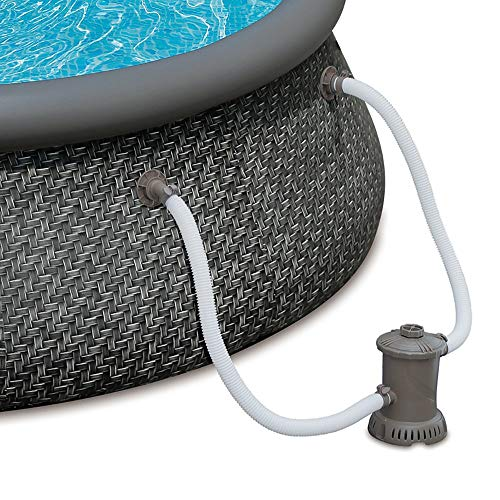 Summer Waves 12ft x 36in Quick Set Ring Above Ground Pool with Pump, Dark Wicker with RX600 Filter Pump, Replacement Filter Cartridge, and Pool Liner