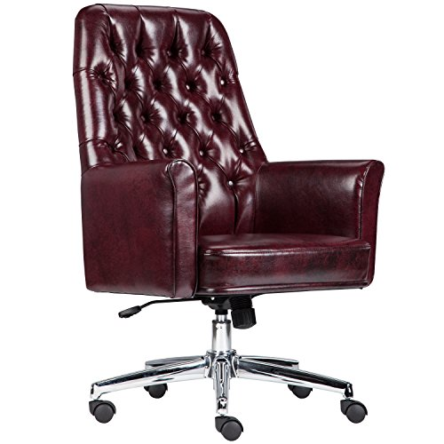 Flash Furniture Mid-Back Traditional Tufted Burgundy Leather Executive Swivel Chair with Arms