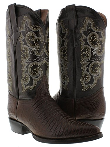 - Team West - Men's Brown Teju Lizard Print Leather Cowboy Boots 12 E US