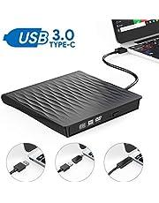 Grabadora DVD Externa, AUCEE USB 3.0 Tipo-C Puerto Dual Unidad CD/DVD Externa Portátil con Diseño Antichoque Capacidad de Corrección de Errores Compatible con Win10/7/8/XP/Vista/Linux/Mac OS