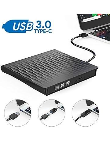 Grabadora DVD Externa, AUCEE USB 3.0 Tipo-C Puerto Dual Unidad CD/DVD