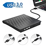 External CD DVD Drive, AUCEE USB 3.0 Type C Dual Port Slim Portable External CD DVD Rewriter Burner Writer, High Speed...