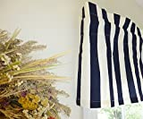Striped Navy Blue & White Window Valance For Sale