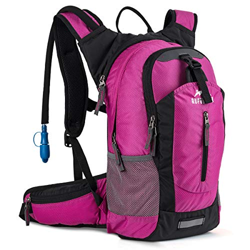 RUPUMPACK Insulated Hydration Backpack Pack with 2.5L BPA Free Bladder, Lightweight Daypack Water Backpack for Hiking Running Cycling Camping, School Commuter, Fits Men, Women, Kids, 18L Rose